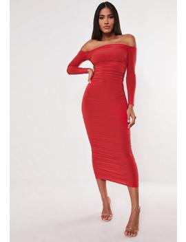 red-bardot-slinky-ruched-bodycon-midaxi-dress by missguided