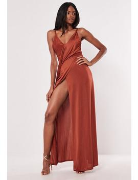 Rust Slinky Strappy Drape Detail Maxi Dress by Missguided