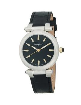 Two Tone Stainless Steel Leather Strap Watch by Salvatore Ferragamo