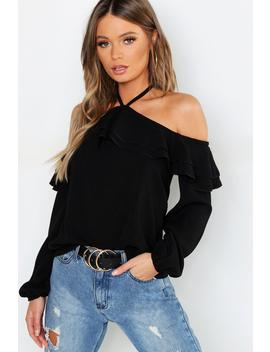 Ruffle Cold Shoulder Woven Top by Boohoo