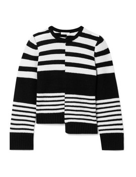 Elm Asymmetric Striped Ribbed Cashmere Sweater by Equipment