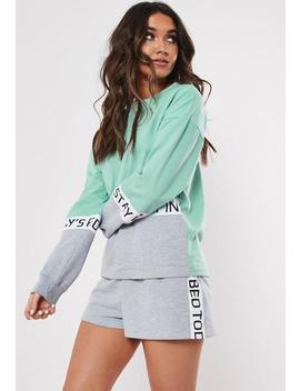 mint-todays-plans-slogan-short-loungewear-set by missguided