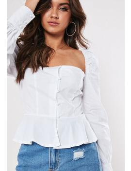 Tall White Square Neck Peplum Top by Missguided