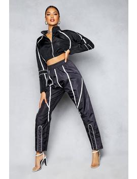 Contrast Binding Shellsuit Jogger by Boohoo