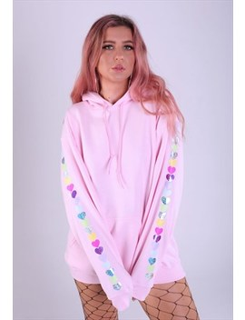 Oversized Hoodie In Baby Pink With Hearts On The Sleeves by Lime Blonde