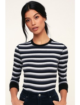 Good On You Grey Multi Striped Three Quarter Sleeve Tee by Free People
