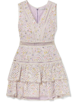 tonie-tiered-printed-broderie-anglaise-modal-mini-dress by alice-+-olivia