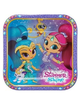 Shimmer And Shine Square Disposable Plates   8ct by 8ct
