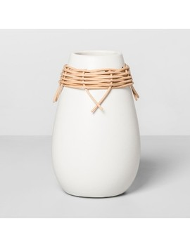 Earthenware Vase With Rattan Accents White/Brown   Opalhouse by Opalhouse