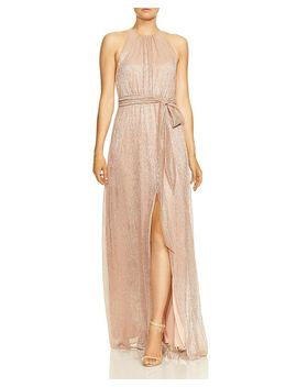 High Neck Metallic Gown by Halston Heritage