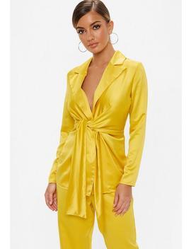 Mustard Tie Waist Satin Jacket by Missguided