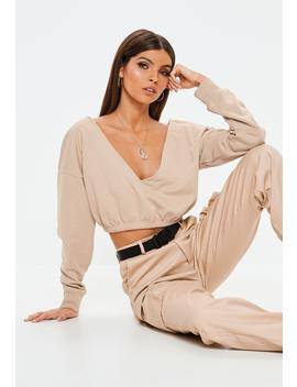 Sand V Front Sweatshirt by Missguided
