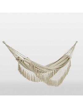 Flat Weave Macrame Fringe Hammock Natural   Opalhouse by Opalhouse