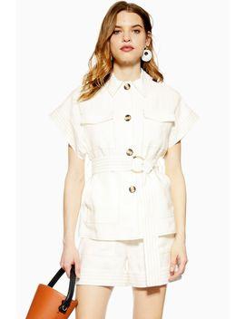 utility-short-sleeve-blazer by topshop