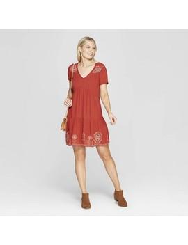Women's Short Sleeve V Neck Shift Midi Dress With Embroidery   Knox Rose Hematite by Neck Shift Midi Dress With Embroidery