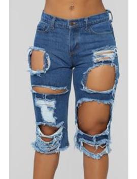 Girls Night Out Distressed Shorts   Dark Denim by Fashion Nova