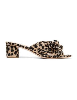Emilia Bow Detailed Leopard Print Plissé Lamé Mules by Loeffler Randall