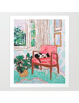 Little Naps   Tuxedo Cat Napping In A Pink Mid Century Chair By The Window Art Print by Society6