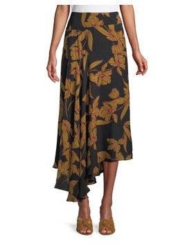 Lev A Line Floral Print Silk Midi Skirt by A.L.C.