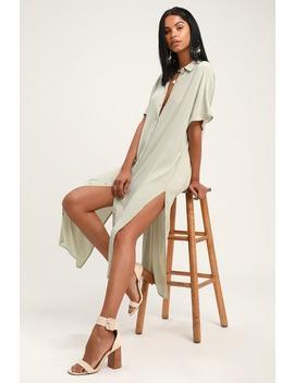 Tranquilo Light Sage Midi Shirt Dress by Amuse Society