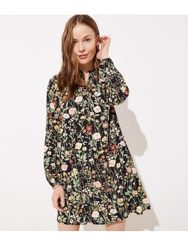 Floral Ruffle Split Neck Dress by Loft
