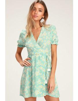 Mira Mint Blue Floral Print Wrap Dress by Faithfull The Brand