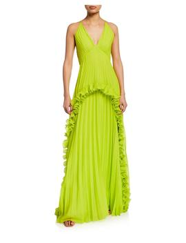 Pleated Halter Gown With Ruffled Trim by Halston Heritage