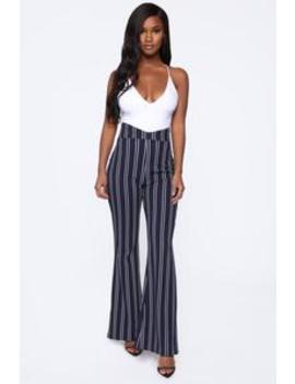 Flare Games Stripe Pants   Navy/White by Fashion Nova