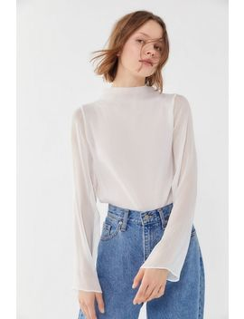 Uo Catherine Sheer Chiffon Mock Neck Blouse by Urban Outfitters