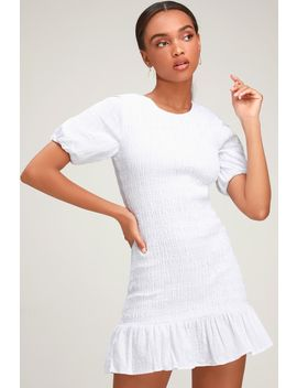 Departure White Smocked Puff Sleeve Mini Dress by The Fifth Label