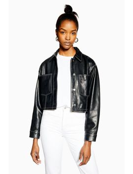 Black Leather Western Jacket by Topshop