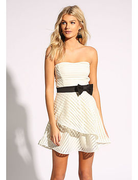 White Strapless Flared Bow Dress by Love Culture