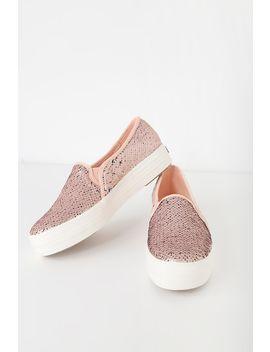 Triple Decker Sequin Reversible Pink Sneakers by Keds