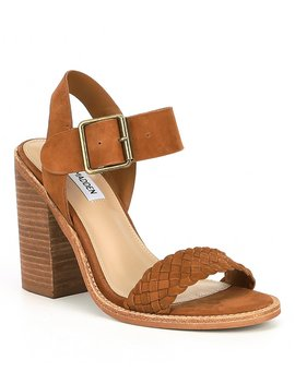 Cadence Woven Leather Block Heel Open Toe Sandals by Steve Madden