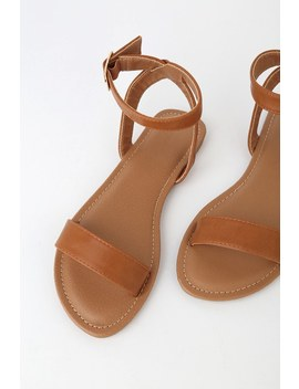 Hauna Whiskey Brown Ankle Strap Sandals by Lulu's