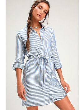 Lifestyle Blue And White Striped Long Sleeve Shirt Dress by Lulus