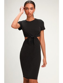 Tatum Washed Black Tie Front Cutout Dress by Lulus