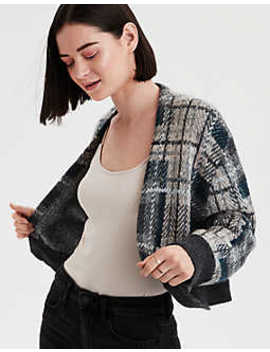 Ae Cropped Plaid Cardigan by American Eagle Outfitters