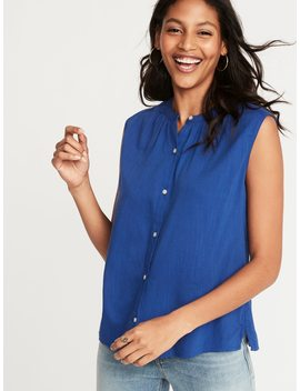 Sleeveless Button Front Shirt For Women by Old Navy
