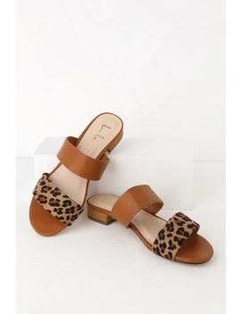 Decker Leopard Slide Sandals by Lulus