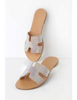 Trini Nude Rhinestone Slide Sandals by Lulu's