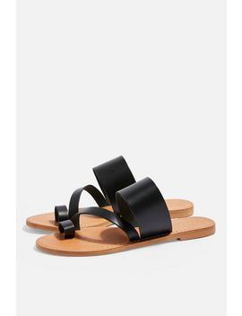 **Wide Fit Honey Black Flat Sandals by Topshop