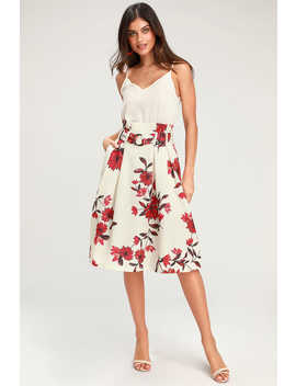 Begonia Be Mine Cream Floral Print Belted Midi Skirt by Lulus