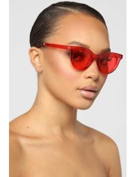 Why Not Sunglasses   Red by Fashion Nova