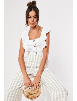 White Frill Sleeve Button Crop Top by Missguided