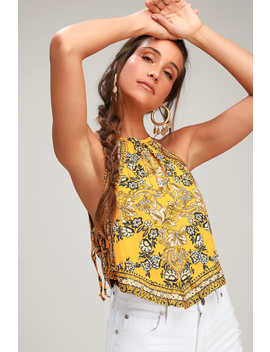 Sofia Golden Yellow Floral Print Halter Crop Top by Free People