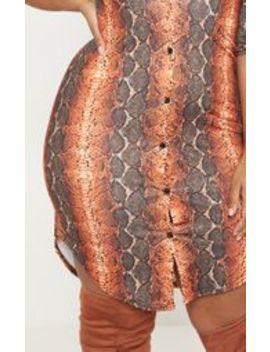 Plus Orange Snake Print Print Button Detail Bodycon Shirt Dress by Prettylittlething