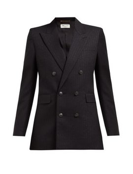 Metallic Pinstriped Double Breasted Crepe Blazer by Saint Laurent
