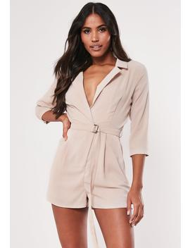 Stone Belted Blazer Playsuit by Missguided