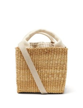 Rita Linen And Woven Straw Bag by Muuñ